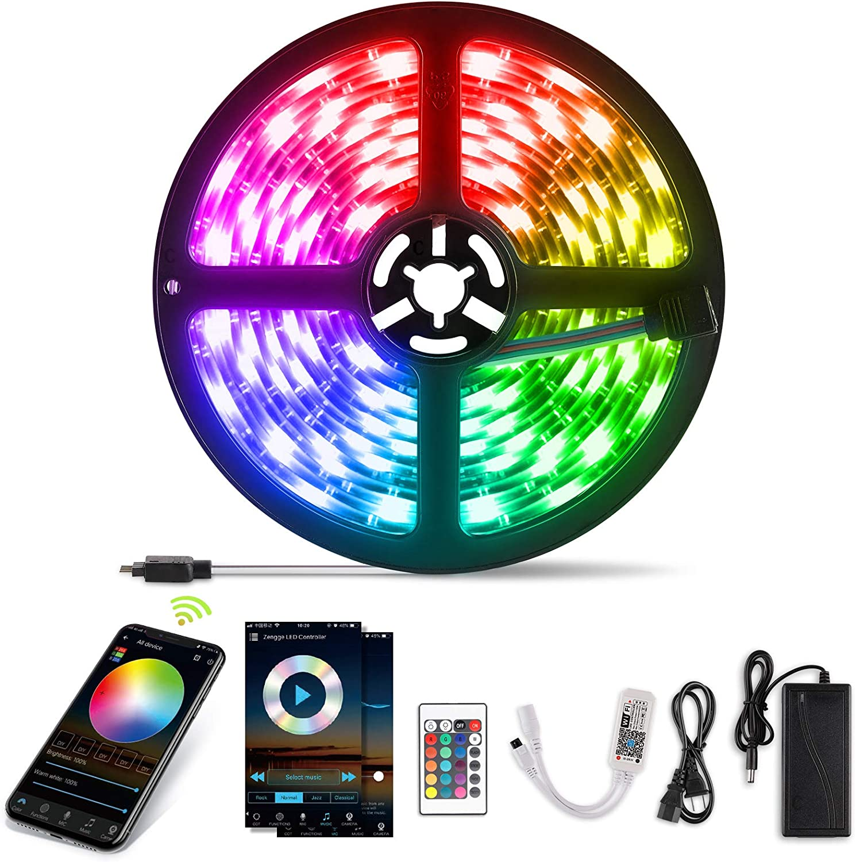 YISSVIC WIFI Tira LED Tiras de LED Inteligente 5m 5050RGB Multicolor 12V Impermeable IP65 Aplicación con ALEXA Google Home IFTTT Teléfono Control Remoto 24 Teclas
