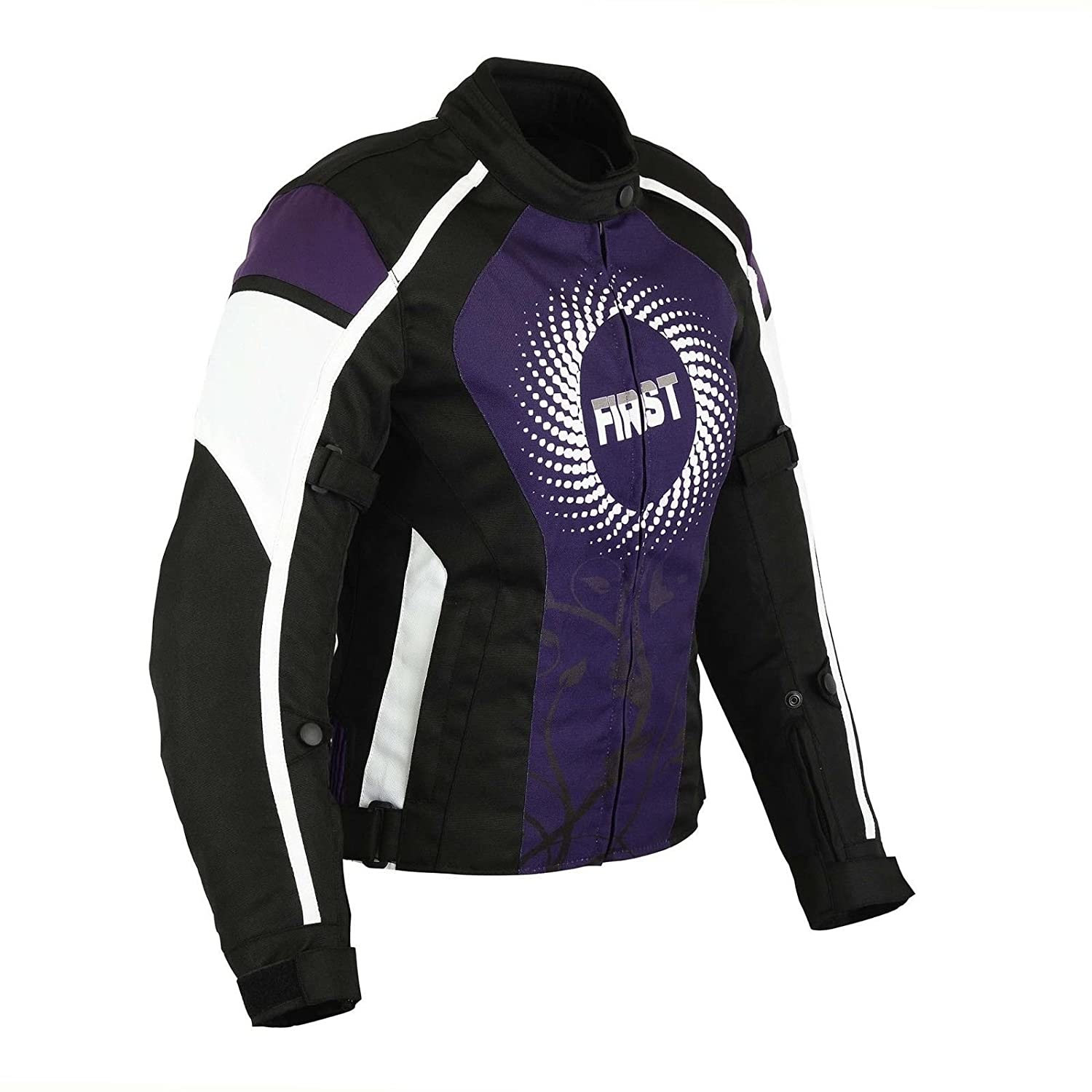 All Weather Ladies Motorbike Jacket Women Waterproof Motorcycle Gears Clothing in Cordura Fabric with Armours Red Spiral Dotted First Textured