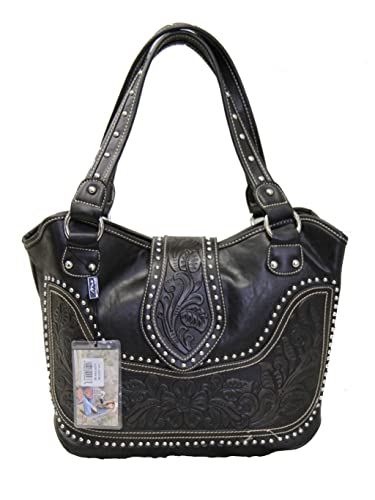 afb91e2131 Montana West Concealed Carry Purse Tooled Leather Handbag Western Purse  Black  Handbags  Amazon.com