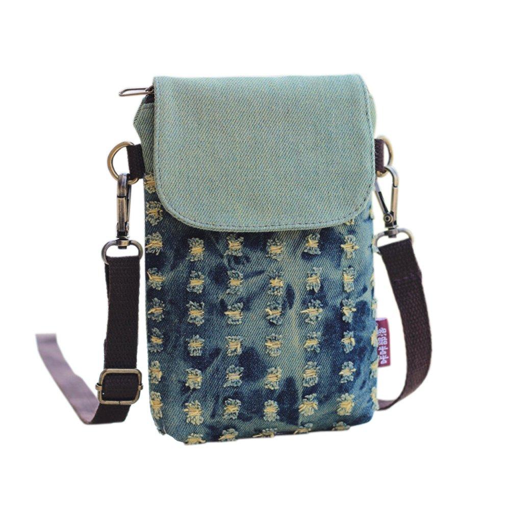 88d0e148ad Toniker Girls Women Mini Cute Crossbody Bag Fashion Hole Denim Series  Cellphone Wallet Purse ...