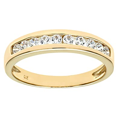 Citerna 9 ct Wedding Band with Channel Set CZ Stones fqUtSxYR7