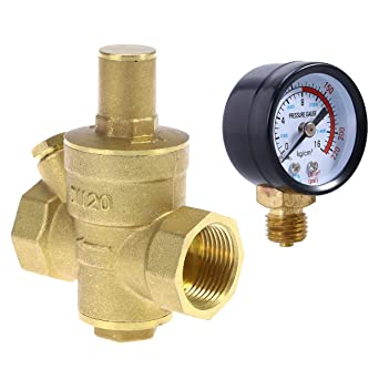 ukcoco DN20 Heavy Duty ajustable Latón Agua Reductor de presión Regulador válvulas con agua – Tensiómetro