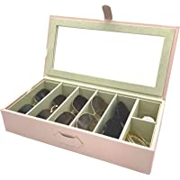 UnionPlus 5-Slot Eyeglass Sunglass Glasses Organiser Collector - Faux Leather Storage Case Box (Pearl Pink)