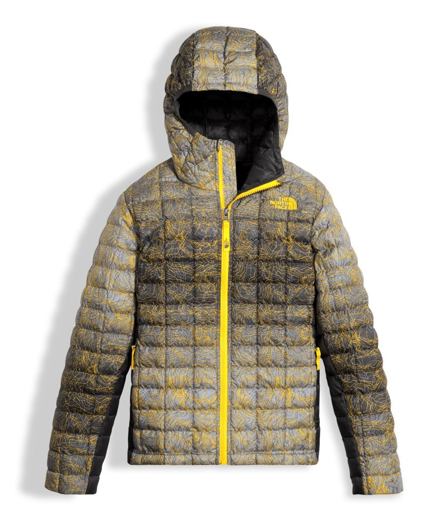 The North Face Boy's Thermoball Hoodie - Canary Yellow Topo Print - L (Past Season)