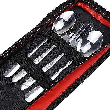 hysagtek portátil acero inoxidable cubertería de acero inoxidable en estuche con cremallera funda soporte, cuchara, tenedor, golpe, palillos para ...