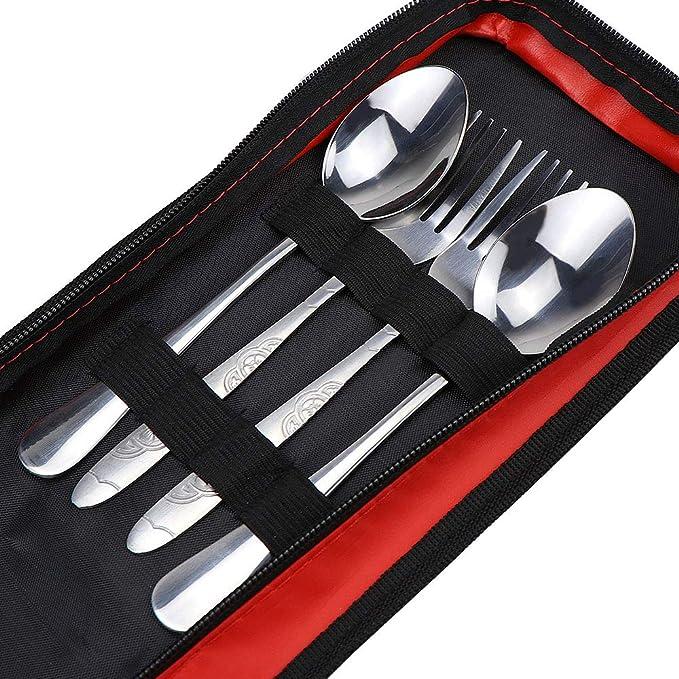 hysagtek Couverts en acier inoxydable Set Portable avec fermeture ...