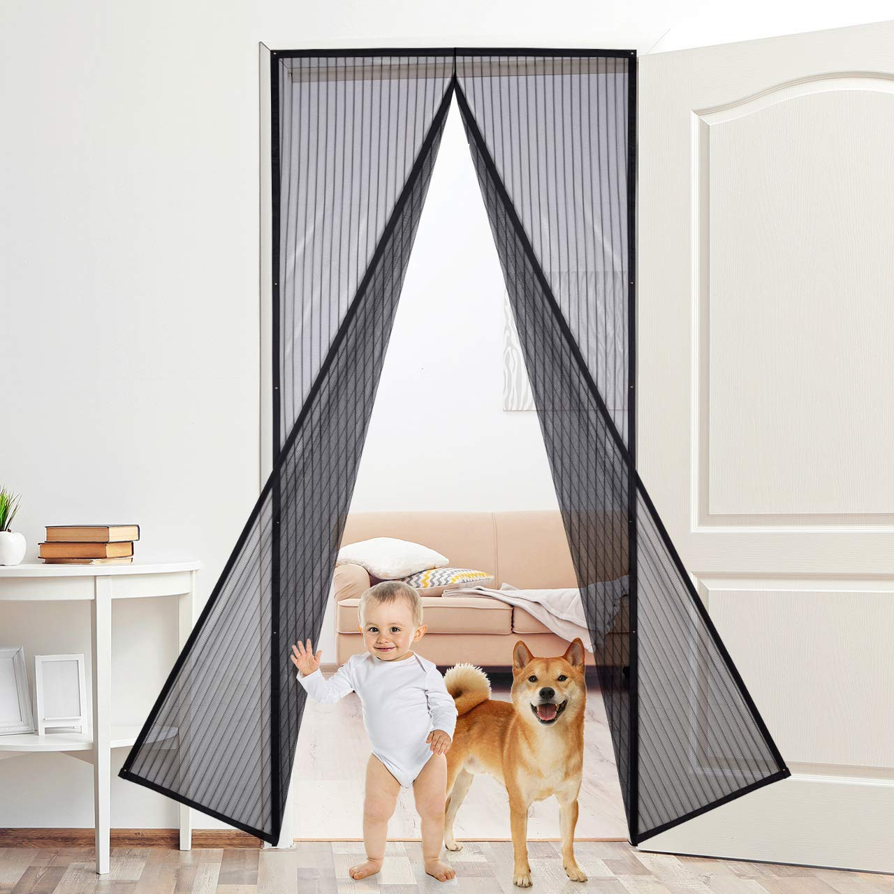 """Aoski Magnetic Screen Door with Heavy Duty Mesh Curtain and Full Frame Seal Fits Door Size up to 36""""-82"""" 