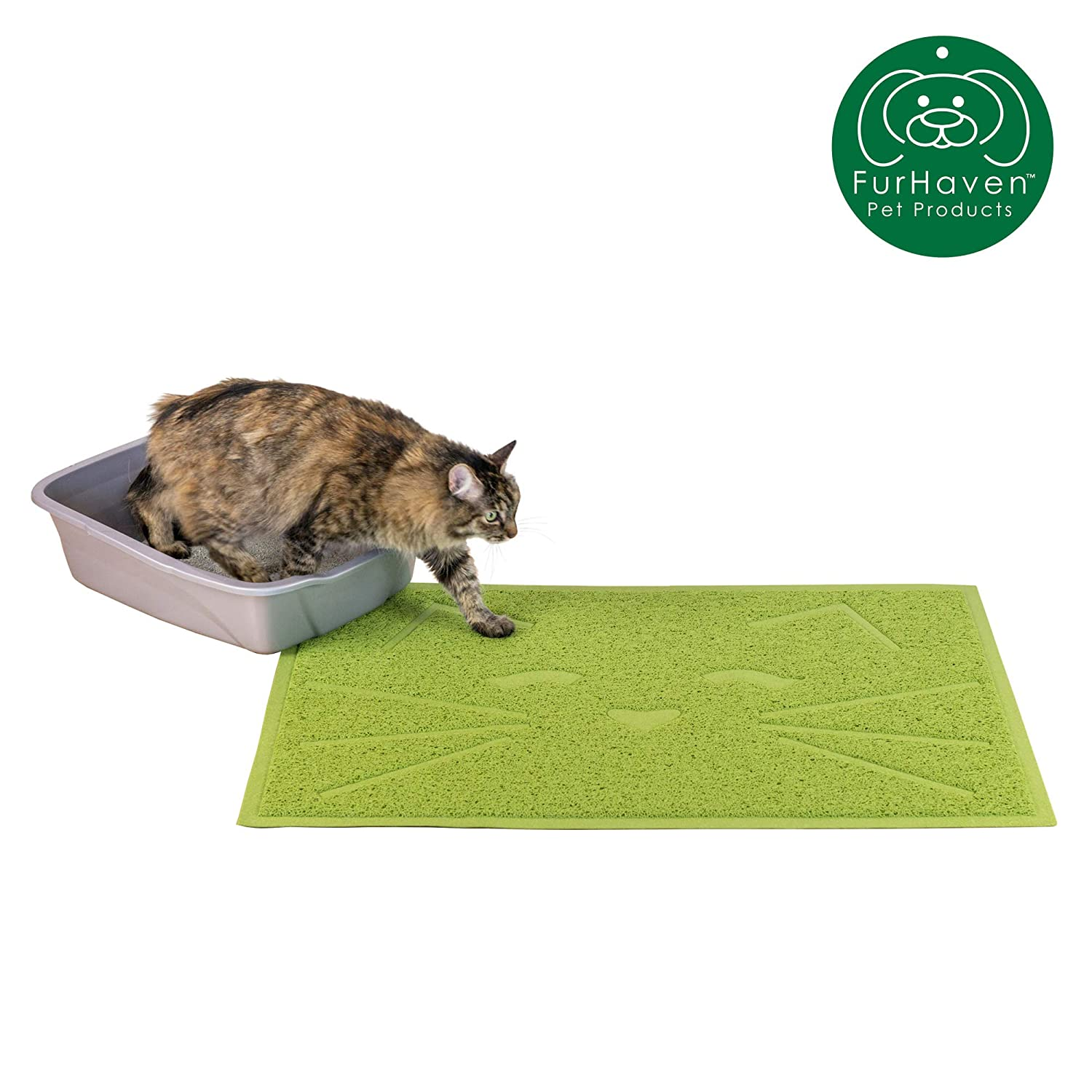 Furhaven Pet Food Mat | Tiger Tough Tidy Paws Litter & Dining Food Mat for Dogs & Cats, Fresh Catnip (Green), One Size