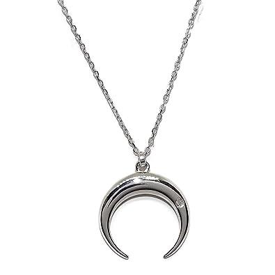 659a45f372e4 Collar media luna de oro blanco de 18cts con un diamante de 0.008kts y  cadena forzada de oro blanco de 40cm. NEVER SAY NEVER  Amazon.es  Joyería