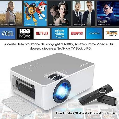 VGA Audio USB AV y Smartphone TV Stick Mini retroproyector inal/ámbrico Home Cinema Proyector compatible con HDMI Videoproyector port/átil 1080P FHD WiFi Bluetooth FANGOR Micro USB