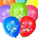 Mad Science Party Balloons - Flasks and Atoms (16 pcs, Deluxe Two-Sided) (Assorted)