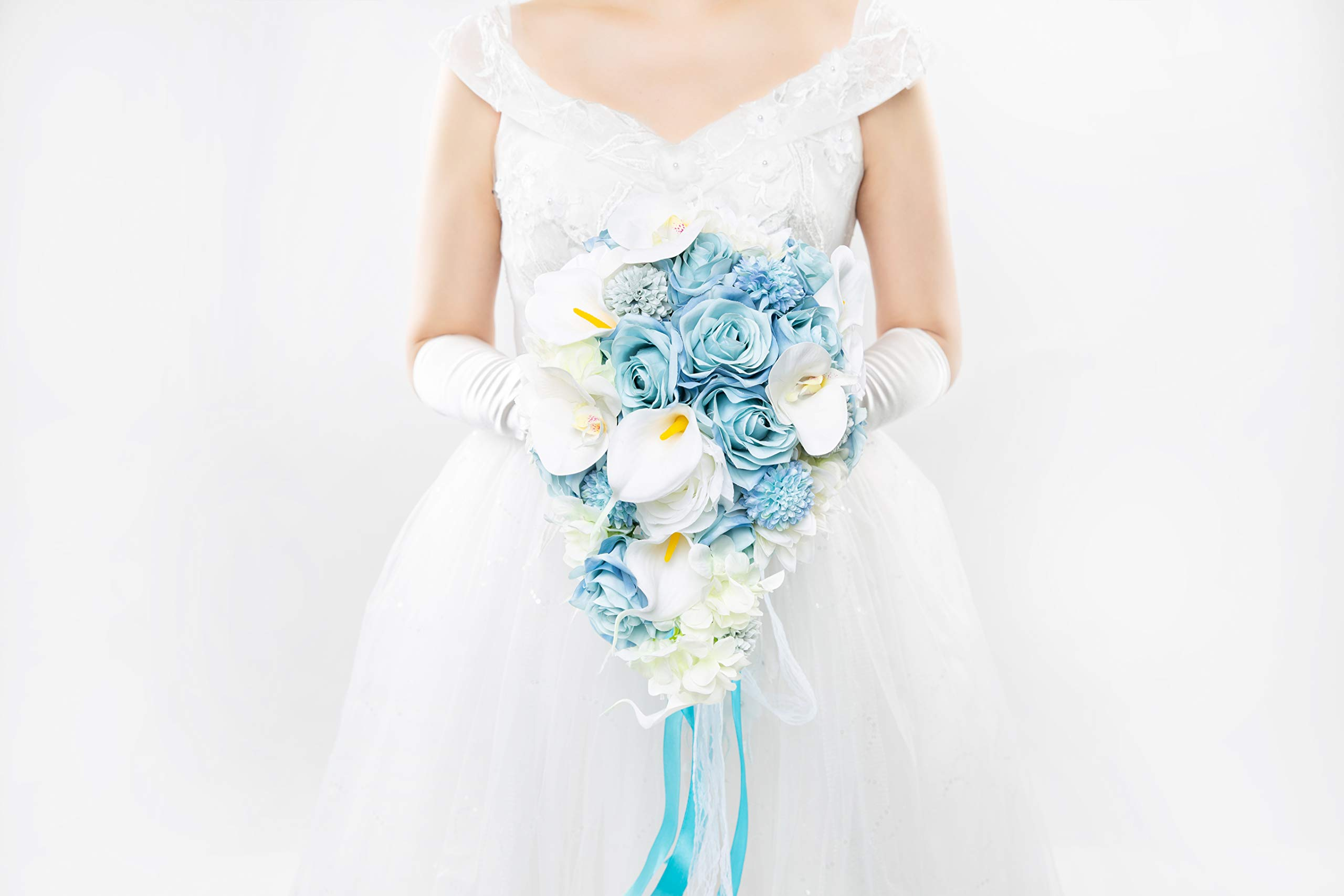 Abbie Home Light Blue Calla Lily White Dahlia Cascading Bridal Bouquets - Silk Flowers for Beach Wedding with Ribbon and Lace Décor (A Cascading Bouquet) by Abbie Home