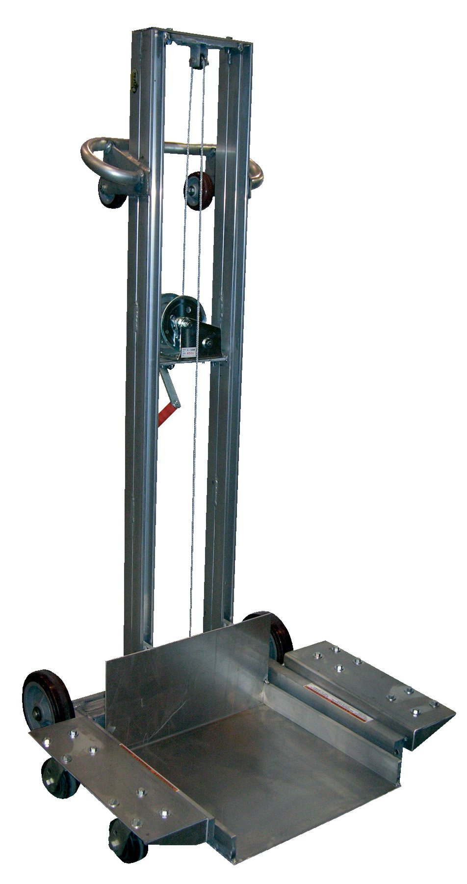 Vestil ALLPW-500-4SFL Aluminum Low Profile Lite Load Lift with Manual Operation, 400 Capacity, 20'' Length x 20'' Width Platform