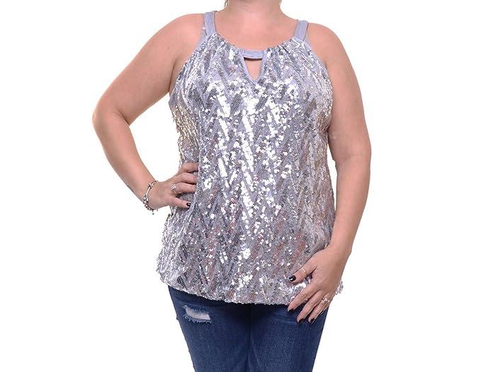 00ea4dbab1952 Amazon.com  INC Womens Sequined Sleeveless Halter Top  Clothing