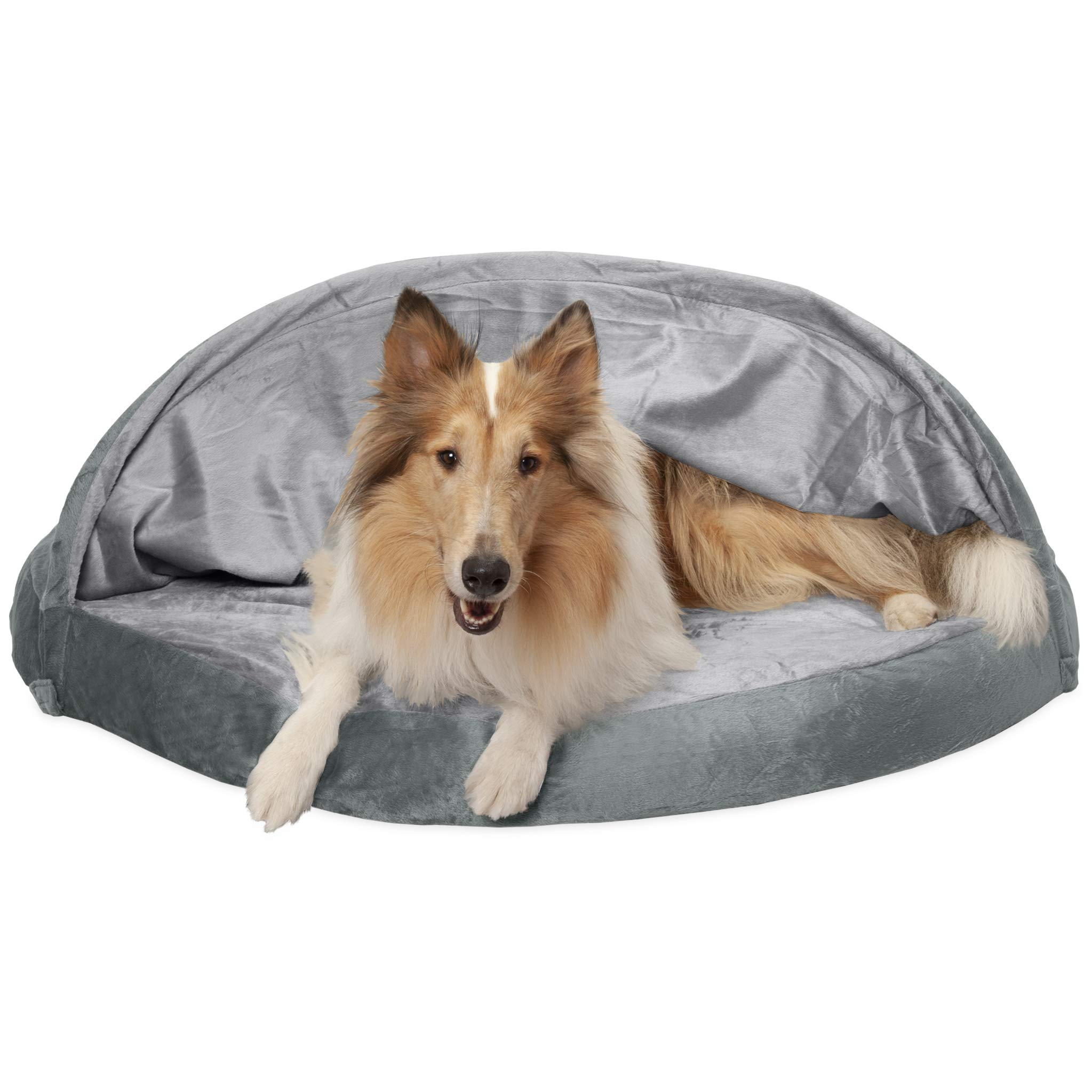 Furhaven Pet Dog Bed | Orthopedic Round Cuddle Nest Micro Velvet Snuggery Blanket Burrow Pet Bed w/ Removable Cover for Dogs & Cats, Silver, 44-Inch by Furhaven