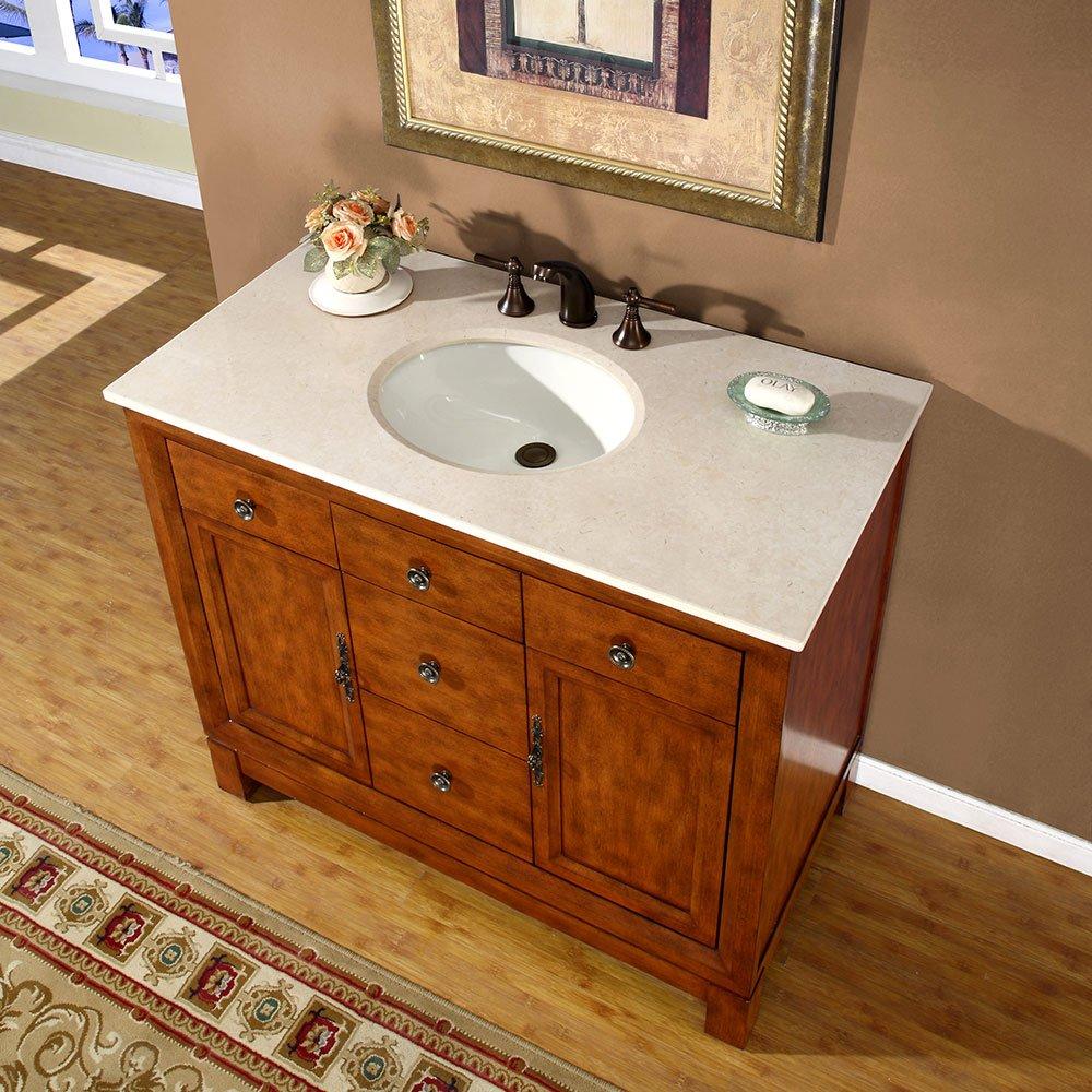 Cream colored bathroom cabinets - Amazon Com Silkroad Exclusive Countertop Cream Marble Stone Single Sink Bathroom Vanity With Bath Cabinet 42 Inch Home Kitchen