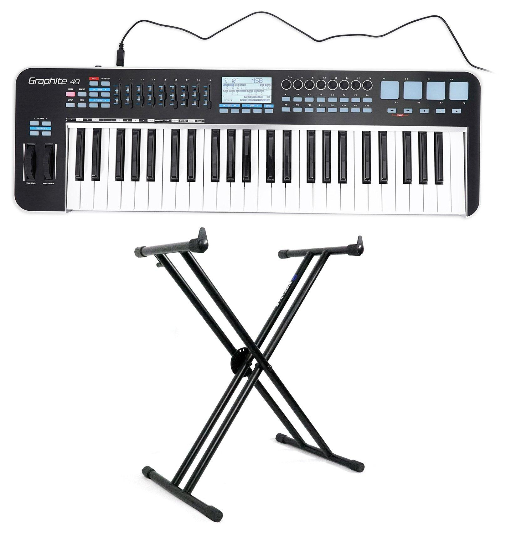 Samson Graphite 49 Key USB MIDI DJ Keyboard Controller w/Fader/Pads + Stand by Samson Technologies