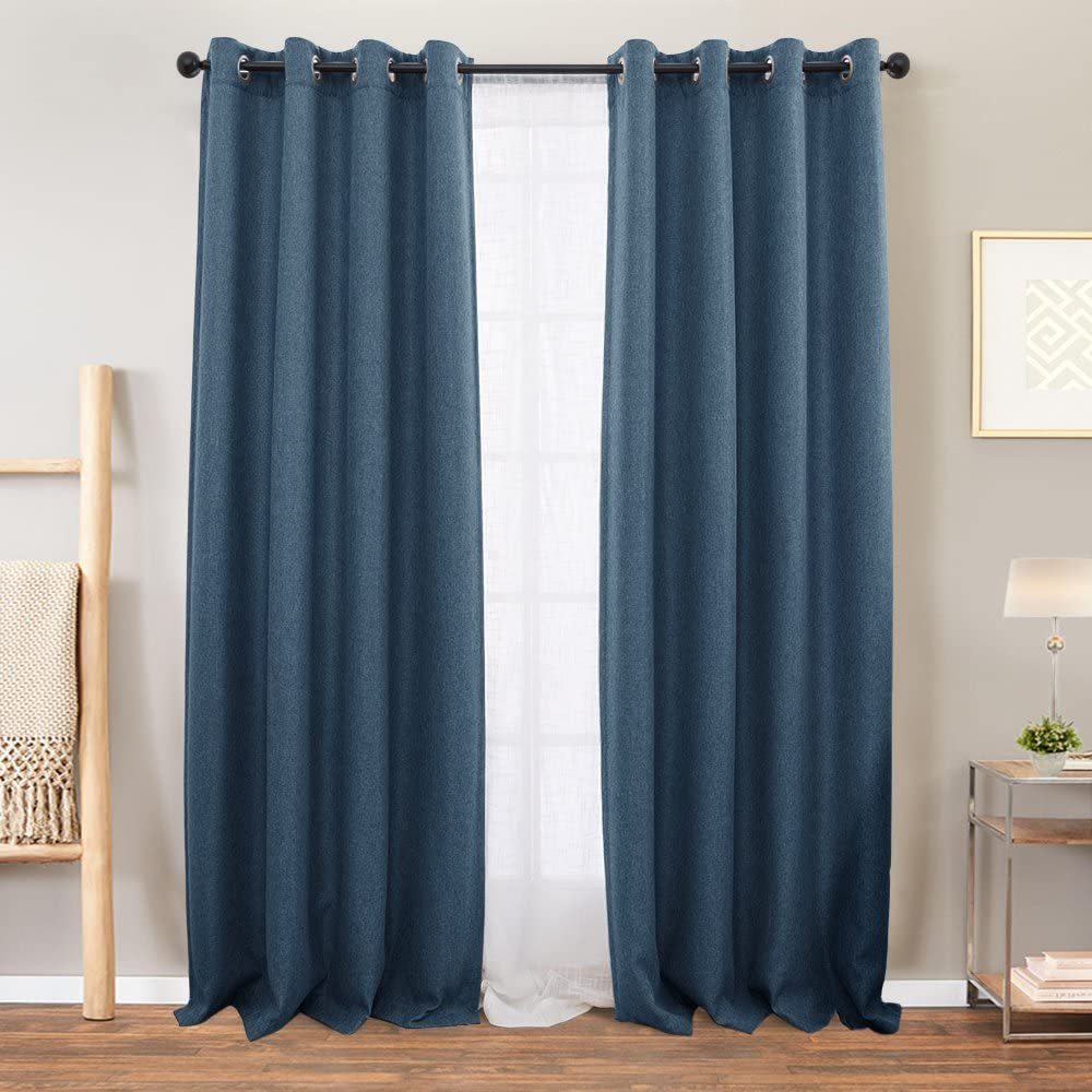 Vangao Curtains Linen Blue Blackout for Bedroom 84 inch Length Living Room Darkening Window Curtain 2 Panels Thermal Insulated Drapes Grommet Top, 1 Pair,Denim Blue
