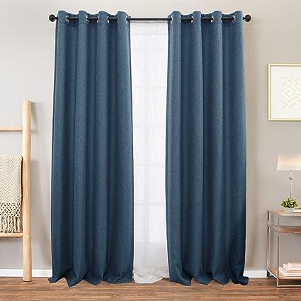 Amazon.com: Vangao Curtains Linen Blue Blackout for Bedroom 84 ...