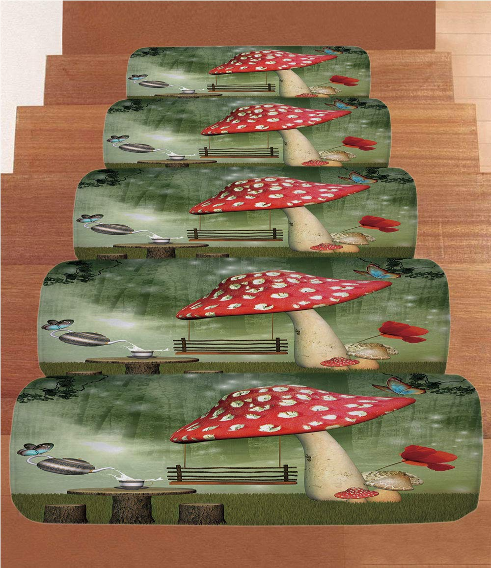 Non-Slip Carpets Stair Treads,Mushroom,Picnic in Fantasy Garden Wood Table Poppy Flower Swing Teapot and Milk Splash Decorative,Multicolor,(Set of 5) 8.6''x27.5'' by iPrint (Image #1)