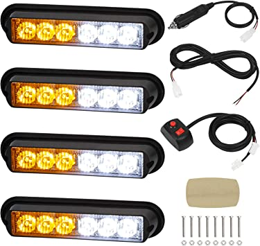 Sync Feature LED Car Truck Emergency Beacon Warning Hazard Flash Strobe Light with 16 Different Flashing,12//24V Linkitom 4 in 1 Surface Mount Grill Light Head