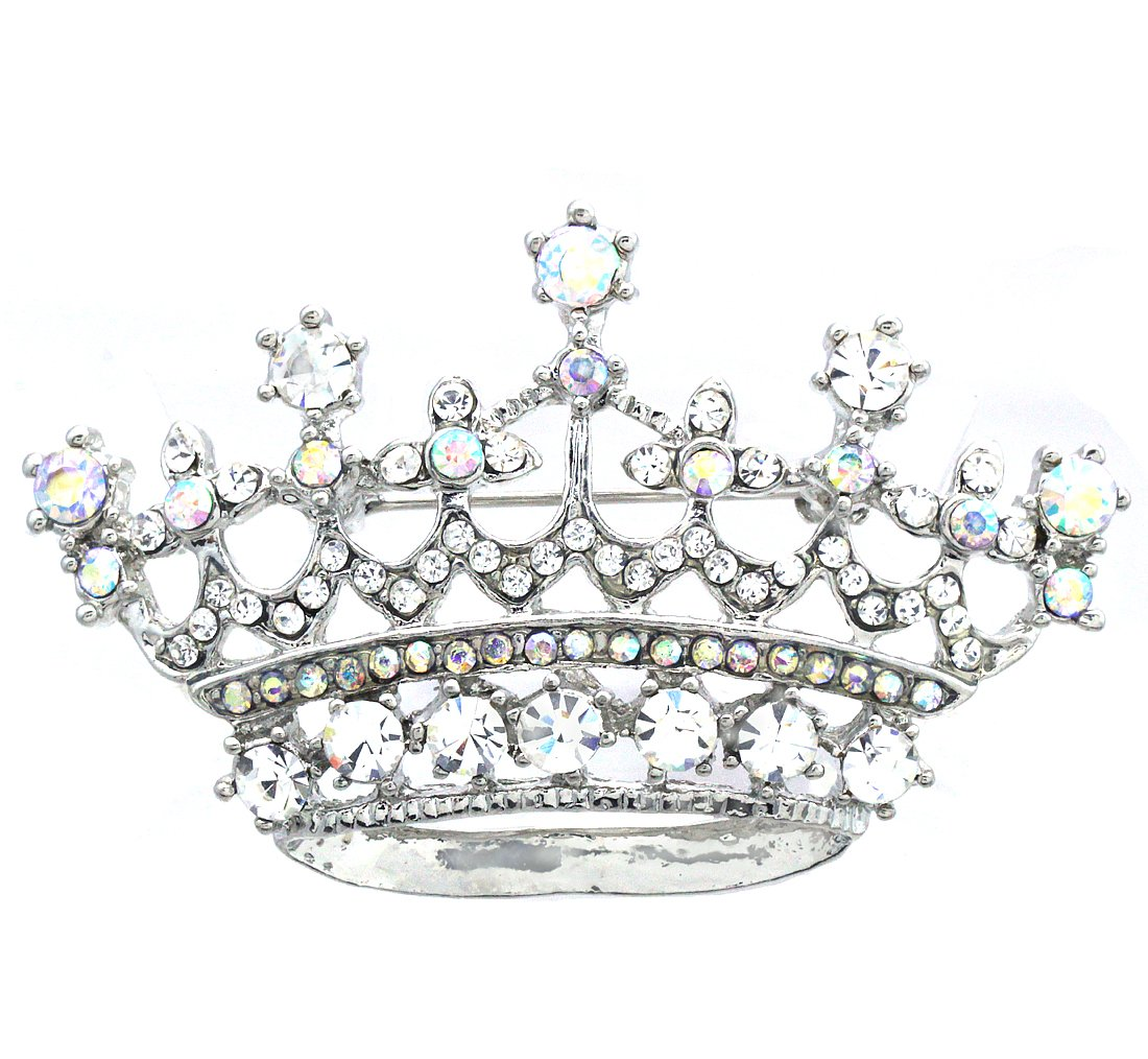Soulbreezecollection Princess Crown Tiara Brooch Pin Wedding Bridesmaid Clear Rhinestones Jewelry (Aurora Borealis)