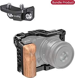 Camera Cage for Sigma fp Camera with Wooden Handgrip, Lens Adapter Support for SmallRig Sigma fp Camera Cage