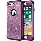iPhone 8 Plus Case, iPhone 7 Plus Case, Hython Heavy Duty Defender Protective Case Bling Glitter Sparkle Hard Shell Armor Hybrid Shockproof Rubber Bumper Cover for iPhone 7 Plus and 8 Plus, Purple