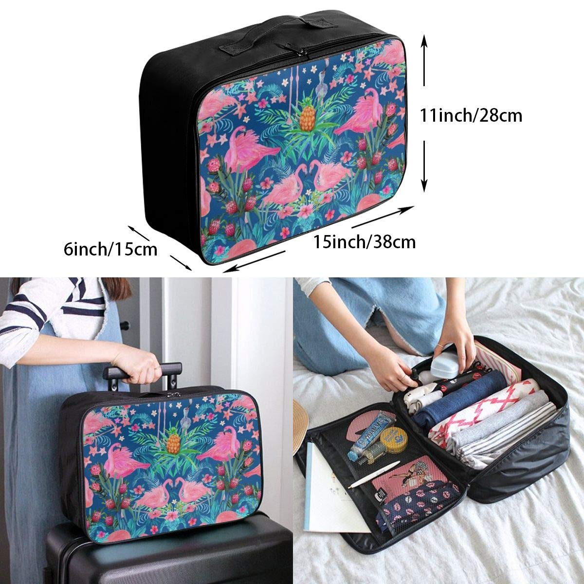 ADGAI Watercolor Flamingos Floral Tropical Canvas Travel Weekender Bag,Fashion Custom Lightweight Large Capacity Portable Luggage Bag,Suitcase Trolley Bag