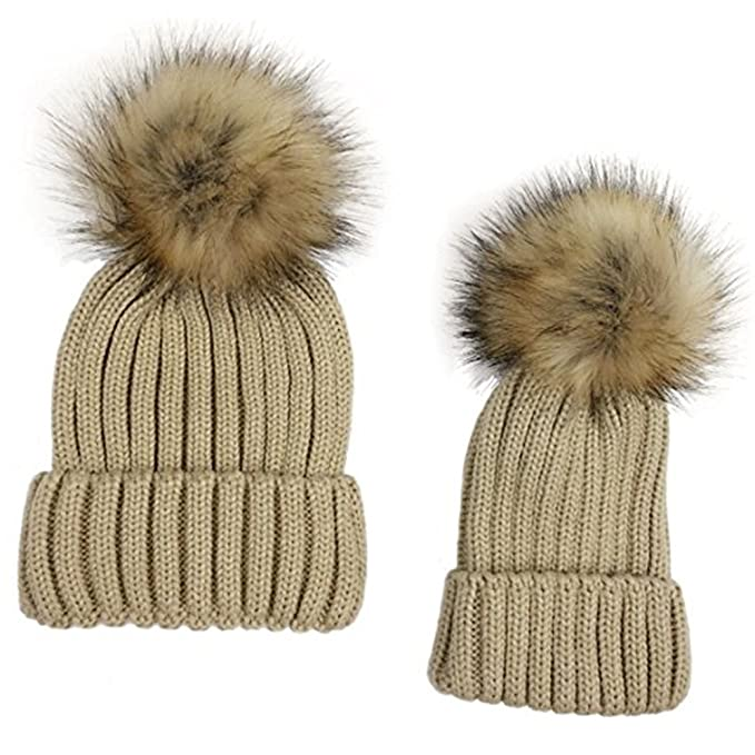 Amazon.com  OWIKAR 2PCS Parent-child Hat Warmer 3597a1009fcd