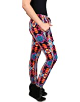 Womens Multi Colored Run Pattern Pants with Pockets