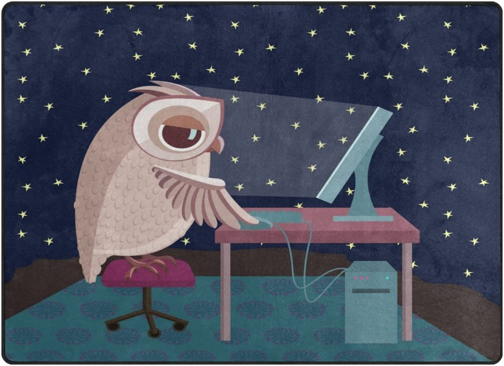 Chen Miranda Owl Working On The Computer At Night Modern Area Rugs Living Room Carpets iSutable for Comfy Bedroom Home Decorate Kids Playing Mat Nursery Rugs 80 x 58 inch Lightweight Foam Printed Rug