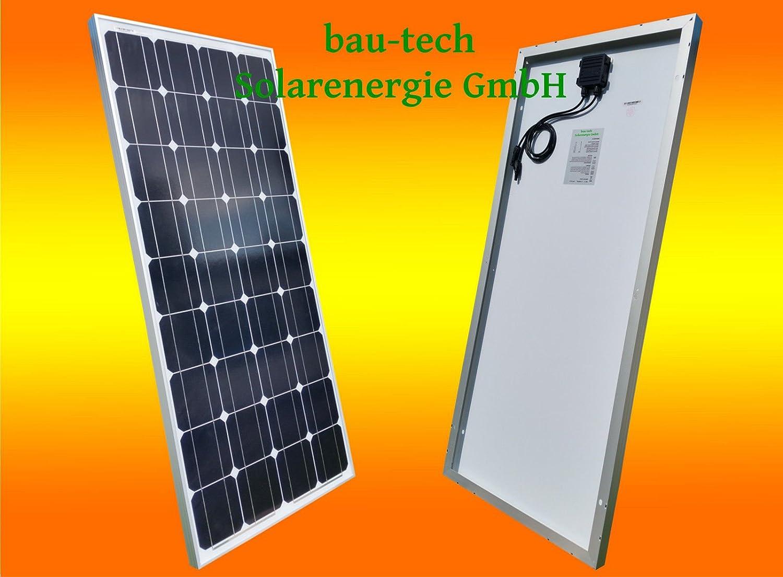130 Watt 12V Solarmodul Monokristallin - Solarpanel - PV-Modul - Solar Photovoltaik - Camping von bau-tech Solarenergie GmbH
