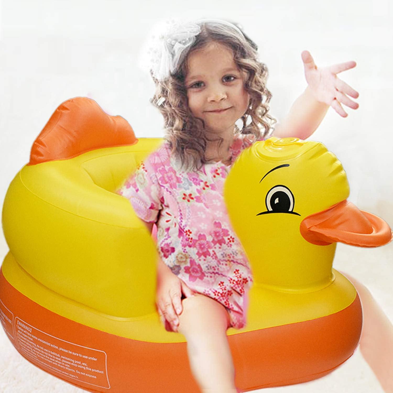 Yellow Duck Toddler Training Seat Air Sofa Baby Inflatable Sofa,Chair Infant Bath Chair Seat Built in Pump Bath Seat Portable Baby Play Sofa