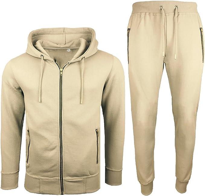 MENS TRACKSUIT SET FLEECE HOODIE TOP BOTTOMS WITH ZIP POCKETS Sweatshirts Pants