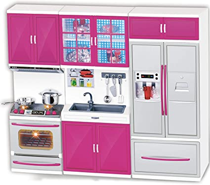 Amazon Com Liberty Imports My Modern Kitchen Mini Toy Playset W Lights And Sounds Perfect For 11 12 Dolls Toys Games