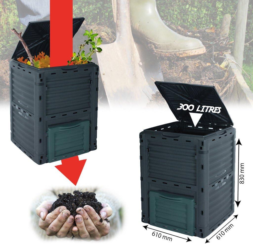 umweltfreundlich 300l KOMPOSTER Bio-M/üll-Konverter. Komposttonne f/ür den Garten