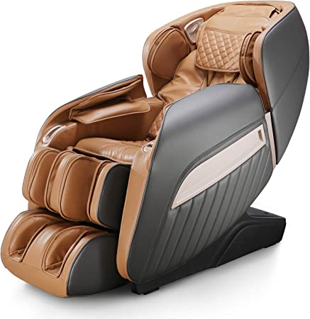 Naipo Massage Chair Shiatsu Zero Gravity Massage Seat Whole-Body Electric Massager with 7 Professional Massage Techniques 12 Auto Massage Programs Comfortable Armchair Lounge Relax Chair, Brown