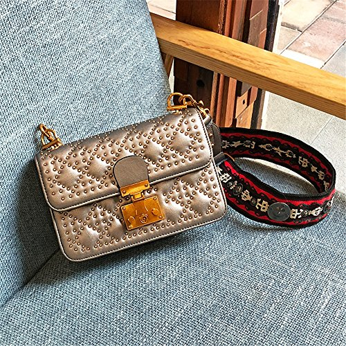 Sunbobo Shoulder Shoulder Retro Straps Rivets PU Square Bag Simple Buckle Wide Bag Messenger SX4wSrq