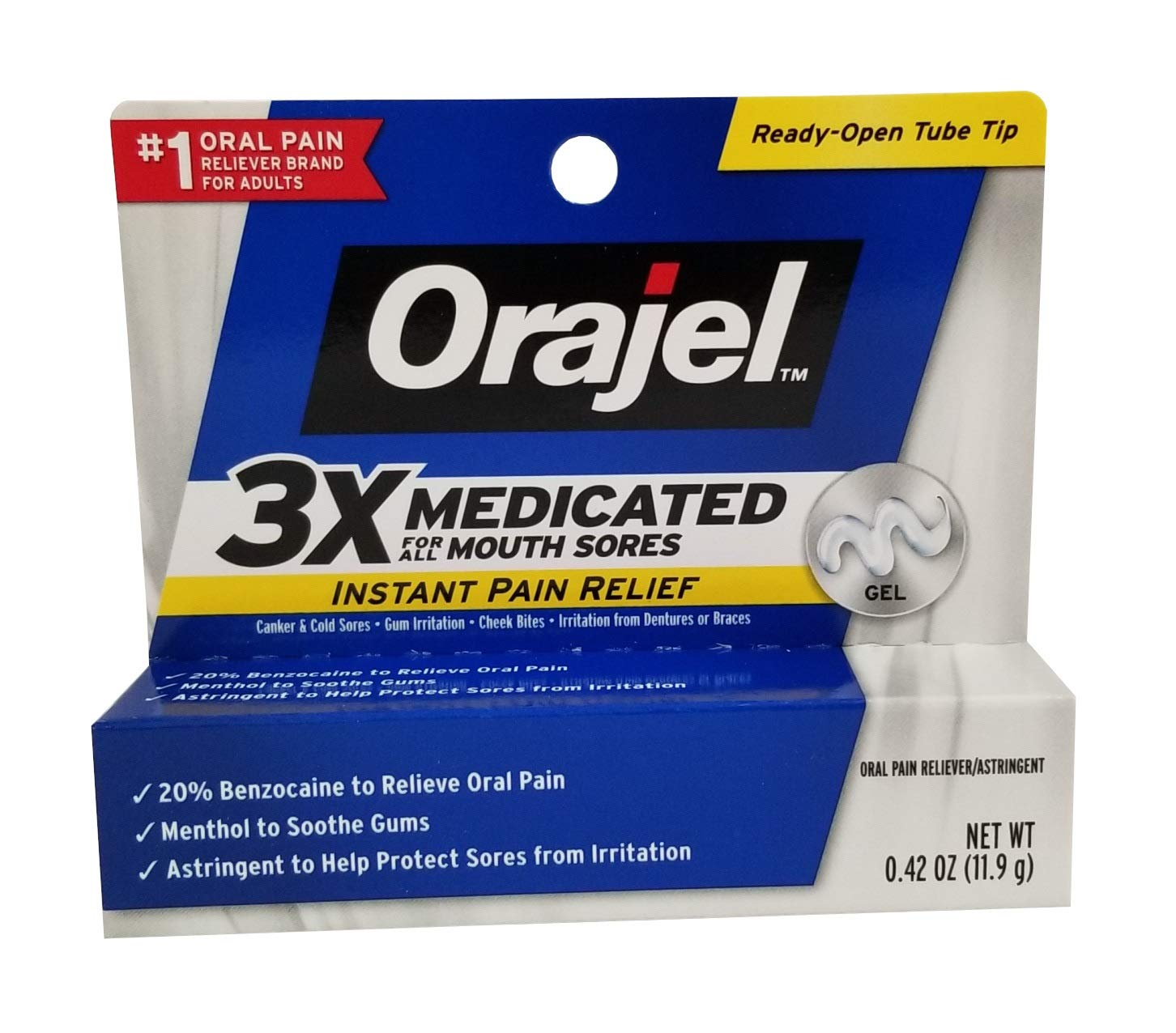 Orajel Orajel Mouth Sore Pain Relief Gel, 0.42 oz (Pack of 5) by Orajel
