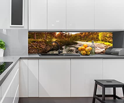 Cocina Pared Trasera Río en Noruega Design M0916 240 x 60 cm (W x H) - 3 mm de Aluminio ...