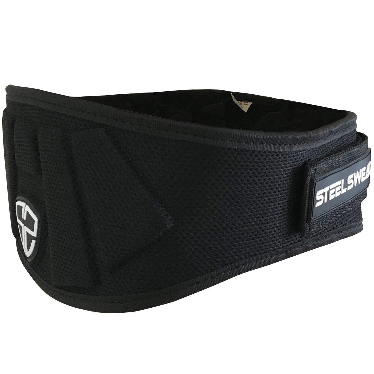 Steel Sweat Weight Lifting Belt - Nylon 6-inch Firm & Comfortable Back Support, Best for Workouts at The Gym, Weightlifting or Crossfit. Easily Adjustable MAXE Black Small