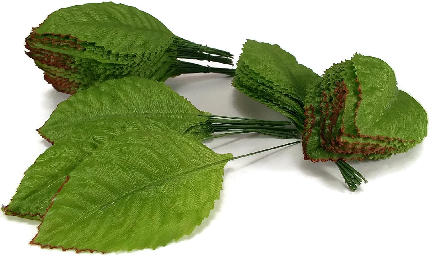 perfect2desire Fake Leaves Silk Green Brown Rose Leaves Fabric Artificial Leaf with Wire Stem Wedding Bouquet Make Hair Clips Size#1