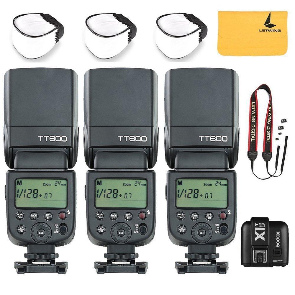 GODOX TT600 2.4G Wireless 3X Camera Flash Speedlite,GODOX X1T-C TTL Wireless Transmitter for Canon EOS series cameras,3X Diffuer,3X LETWING Color Filter