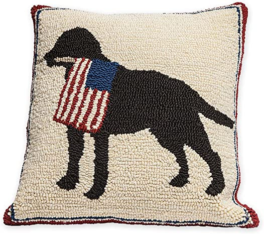 Indoor Outdoor Patriotic Dog Decorative Throw Pillow