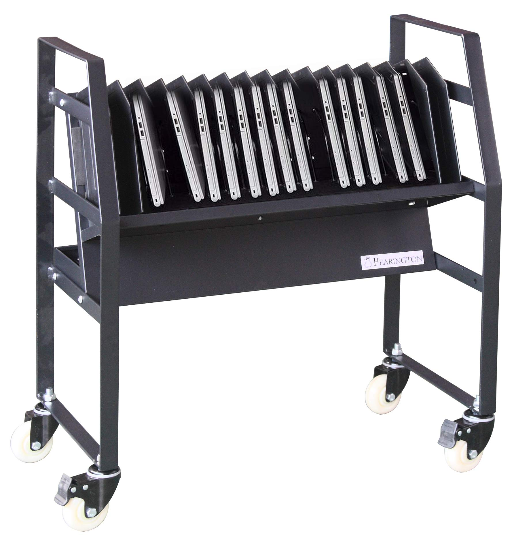 Pearington 16 Bay Classroom and Office Mobile Charging Cart with Wheels - for Chromebooks, iPad and Laptops