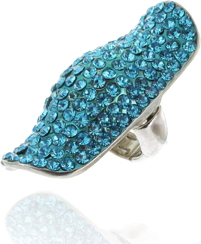 SP Sophia Collection Half Finger Adjustable Long Ring Fully Studded in Austrian Crystal Rhinestones