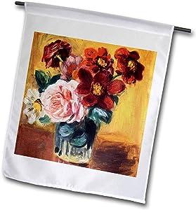 3dRose VintageChest – Masterpieces - Renoir - Vase with Anemones and Roses - 12 x 18 inch Garden Flag (fl_303062_1)