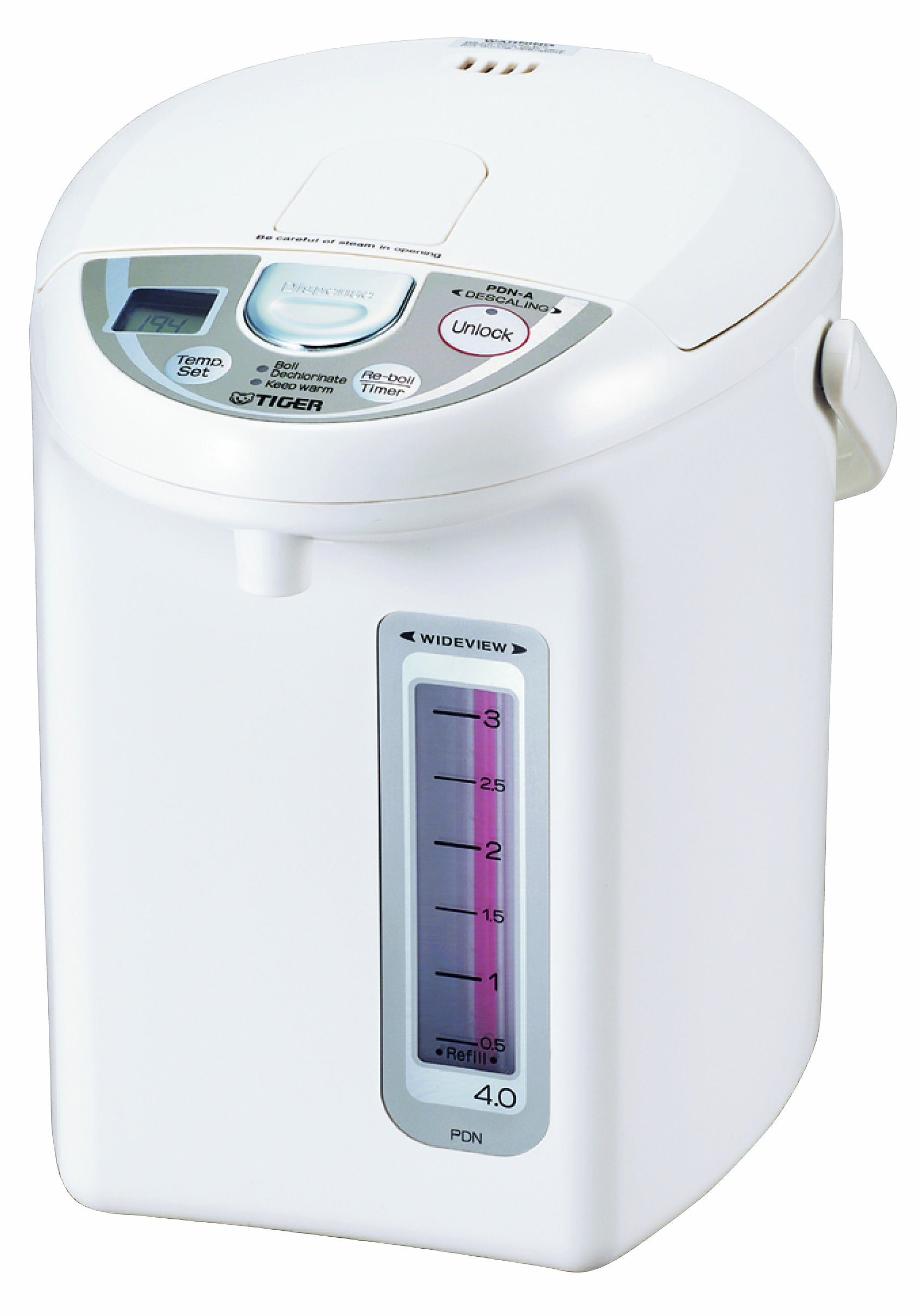 Tiger PDN-A40U-W Electric Water Boiler and Warmer, White, 4.0-Liter by Tiger Corporation