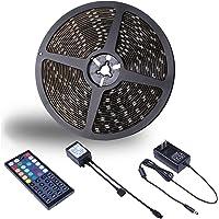 Miheal Waterproof 5050 SMD 32.8ft (10m) RGB LED Strip Light Kit, Color Changing Black PCB Rope Lights+44-key IR…